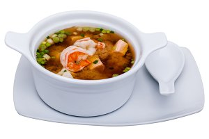 Shrimp soup in bowl