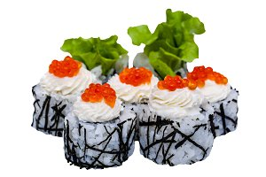 Sushi rolls with caviar