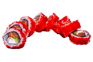 Sushi rolls with caviar isolated