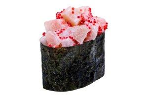 Sushi in nori leaf isolated on white