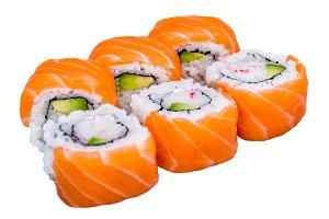 Salmon sushi rolls isolated