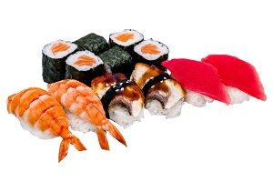 Nigiri sushi and rolls, isolated