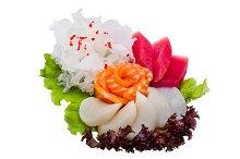 Japanese food with garnish