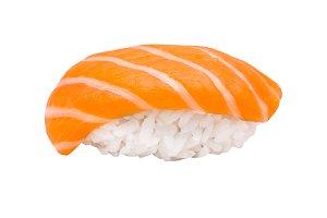 Nigiri sushi with salmon isolated