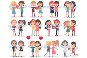Couples on Valentine's Day on White Background