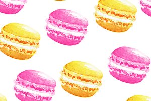 Seamless pattern watercolor macaron