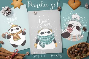 Cute vector pandas illustration