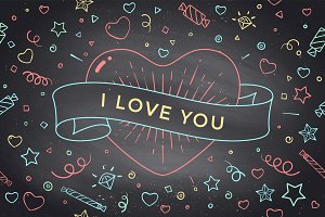 Vintage ribbon with message I Love You and red heart
