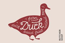 Trendy illustration with red duck silhouette