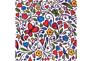 Seamless beautiful pattern with summer flowers vector illustration.