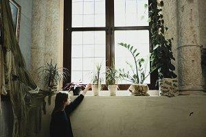 Girl posing in a vintage interior