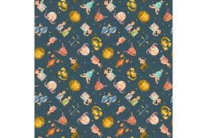 Zodiac icons vector seamless pattern.