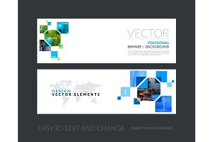 Vector set of modern horizontal website banners with yellow rect
