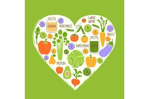 Vegan restaurant healthy food background, vector