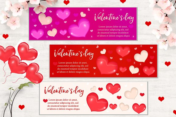 Valentines day banner set templates creative market valentines day banner set templates pronofoot35fo Images