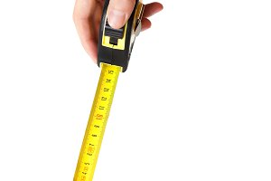 Centimeter (measure tape) in hands