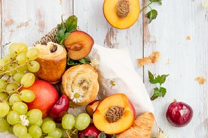 Fruits and Pastries in the Basket