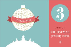 3 Christmas greeting cards - vector
