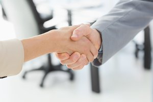 Closeup of shaking hands after business meeting