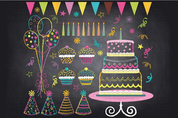 Chalkboard Birthday Party Clip Art ~ Illustrations on ...