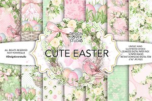 Watercolor Cute easter DP pack 1