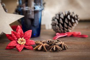 Christmas decoration objects on wood