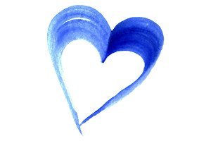 Watercolor blue heart love symbol