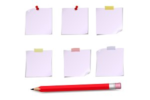 Adhesive Notes with pin, scotch and