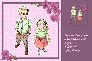 Fashion children with orchid