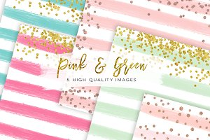 Rose gold watercolor digital paper