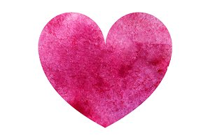 Watercolor pink heart love symbol