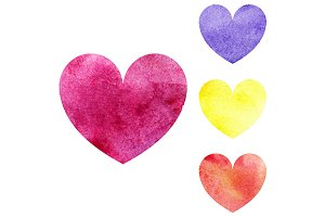 Watercolor heart love symbol vector