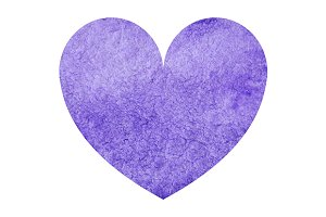 Watercolor violet heart love vector