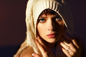Perfect of a woman with blue eyes