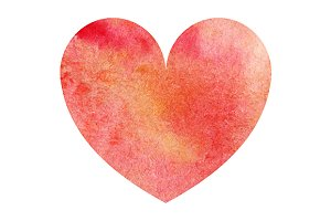 Watercolor red heart love symbol