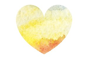 Watercolor yellow heart love symbol
