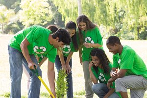 Environmentalists gardening in park