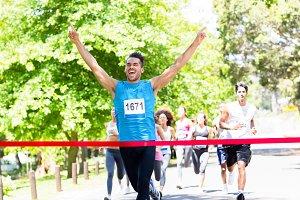 Runner crossing the finshline