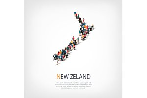 people map country New Zealand vector