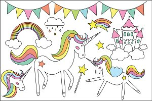 Unicorn Clipart & Vector Set