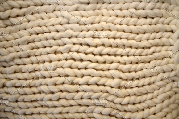 Close-up Of Knitted Blanket Merino Wool Background