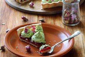Wild Strawberry Pistachio Tart