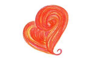 Watercolor red doodle heart symbol