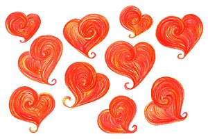 Watercolor red doodle hearts symbol
