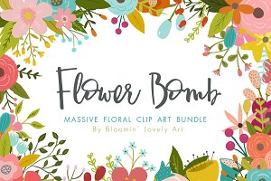 Flower Clip Art Bundle Logo Template