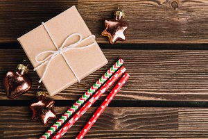 Christmas decorations on the wooden background