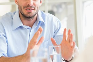 Businessman explaining strategy in meeting