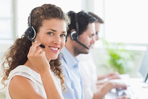 Confident female call center agent