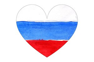 Watercolor Russia flag heart symbol