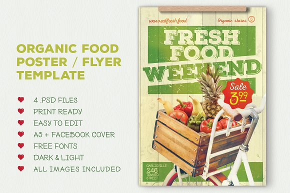 organic food flyer poster flyer templates creative market